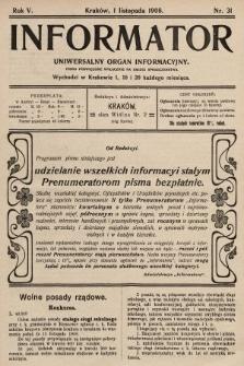 Informator : uniwersalny organ informacyjny. 1908, nr31