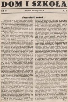 Dom i Szkoła. 1933, nr4