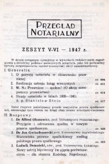 Przegląd Notarialny. 1947, [T. 1], z.5-6