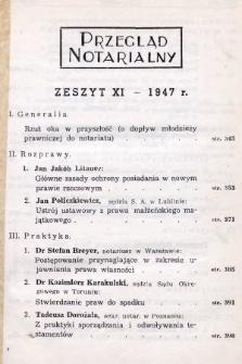 Przegląd Notarialny. 1947, [T. 2], z.11