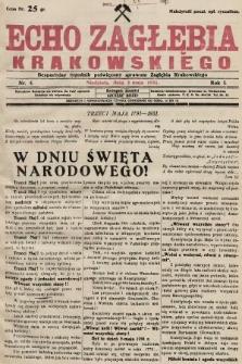 Echo Zagłębia Krakowskiego : bezpartyjny tygodnik poświęcony sprawom Zagłębia Krakowskiego. 1931, nr5