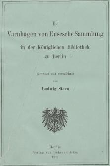 Die Varnhagen von Ensesche Sammlung in der Königlichen Bibliothek zu Berlin