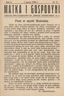 """Matka i Gospodyni : dodatek dwutygodniowy do """"Dzwonu Niedzielnego"""". 1930, nr5"""
