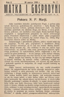 """Matka i Gospodyni : dodatek dwutygodniowy do """"Dzwonu Niedzielnego"""". 1930, nr7"""