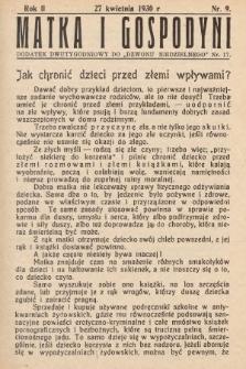 """Matka i Gospodyni : dodatek dwutygodniowy do """"Dzwonu Niedzielnego"""". 1930, nr9"""