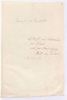 Urschrift und Materialien zur Vorrede und zur Ankündigung. Bd. I des Kosmos
