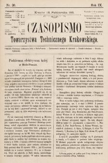 Czasopismo Towarzystwa Technicznego Krakowskiego. 1895, nr20