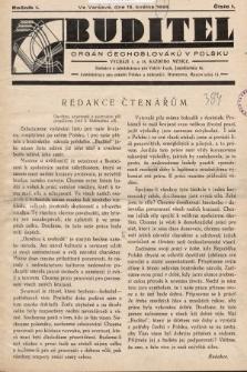 Buditel : orgán Čechoslováků v Polsku. 1928, č. 1