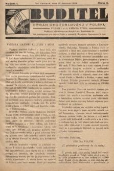 Buditel : orgán Čechoslováků v Polsku. 1928, č.3