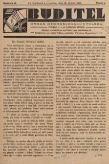 Buditel : orgán Čechoslováků v Polsku. 1929, č.1
