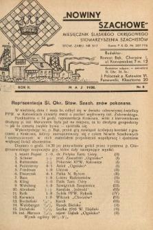 Nowiny Szachowe : miesięcznik Śląskiego Okręgowego Stowarzyszenia Szachistów. 1938, nr5