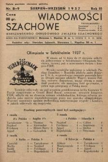 Wiadomości Szachowe Warszawskiego Okręgowego Związku Szachowego. 1937, nr8-9