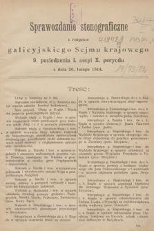[Kadencja X, sesja I, pos. 9] Sprawozdanie Stenograficzne z Rozpraw Galicyjskiego Sejmu Krajowego. 9.Posiedzenie 1.Sesyi X. Peryodu
