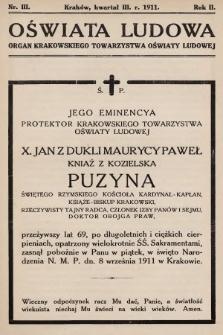 Oświata Ludowa : organ Krakowskiego Towarzystwa Oświaty Ludowej. 1911, nr3