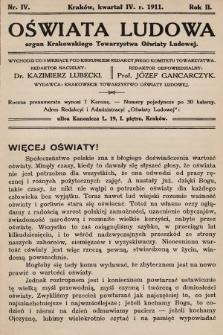 Oświata Ludowa : organ Krakowskiego Towarzystwa Oświaty Ludowej. 1911, nr4
