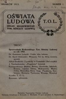 Oświata Ludowa : organ Krakowskiego Towarzystwa Oświaty Ludowej. 1913, nr1