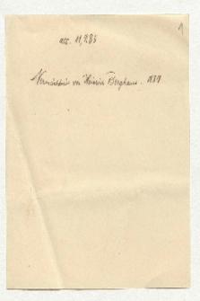 Akzessionsvermerk zum Briefwechsel Humboldt-Berghaus (Ansetzungssachtitel von Bearbeiter/in)