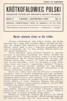 Krótkofalowiec Polski : miesięcznik poświęcony krótkofalarstwu polskiemu. 1929, nr4