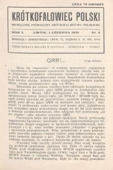 Krótkofalowiec Polski : miesięcznik poświęcony krótkofalarstwu polskiemu. 1929, nr6