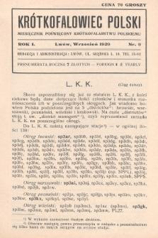 Krótkofalowiec Polski : miesięcznik poświęcony krótkofalarstwu polskiemu. 1929, nr9