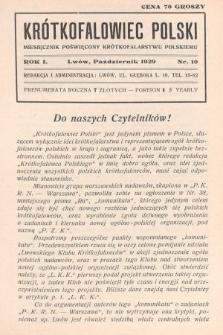 Krótkofalowiec Polski : miesięcznik poświęcony krótkofalarstwu polskiemu. 1929, nr10