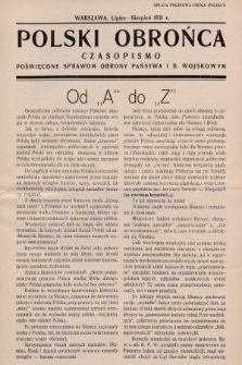 Polski Obrońca : czasopismo poświęcone sprawom obrony państwa i b. wojskowym. 1931, nr 4 i 5