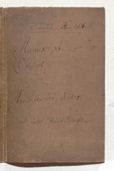 """Manuskripte und Notizen zu """"Ansichten der Natur"""" [całość]"""