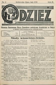 Odzież : pierwsze ilustrowane pismo zawodowe poświęcone krawiectwu w Polsce z dodatkiem sezonowym żurnali Mód : Organ Związku Pracodawców Krawieckich na Polske Zachodnią. 1931, nr2