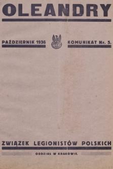 Oleandry : komunikat nr... 1936, nr5