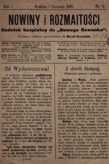 """Nowiny i Rozmaitości : dodatek bezpłatny do """"Nowego Dzwonka"""". 1896, nr6"""