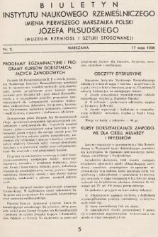 Biuletyn Instytutu Naukowego Rzemieślniczego Imienia Pierwszego Marszałka Polski Józefa Piłsudskiego (Muzeum Rzemiosł i Sztuki Stosowanej). 1936, nr2