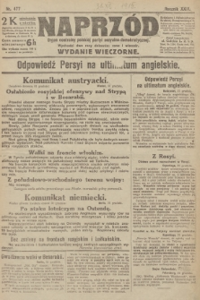 Naprzód : organ centralny polskiej partyi socyalno-demokratycznej. 1915, nr 477 (wydanie wieczorne)