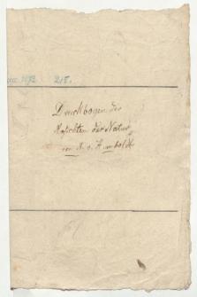 Druckbogen der Ansichten der Natur von A. v. Humboldt (Manuskripttitel)