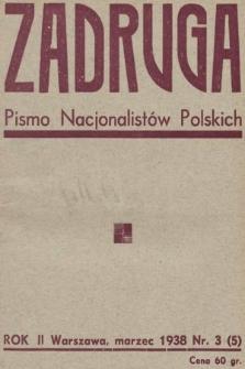 Zadruga : pismo nacjonalistów polskich. 1938, nr3