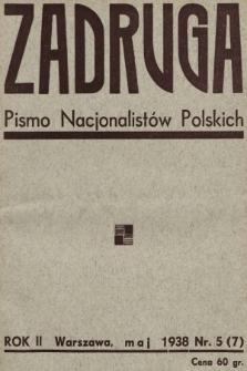 Zadruga : pismo nacjonalistów polskich. 1938, nr5