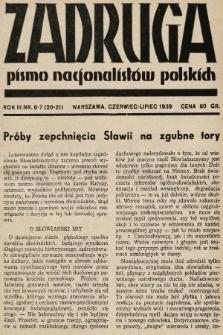 Zadruga : pismo nacjonalistów polskich. 1939, nr6-7