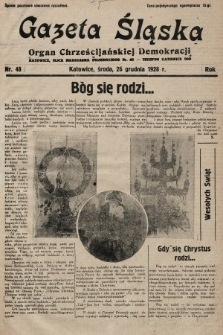 Gazeta Śląska : organ Chrześcijańskiej Demokracji. 1928, nr48