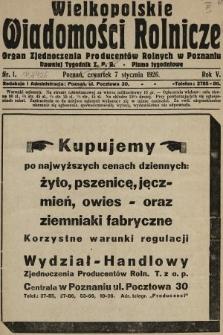 Wielkopolskie Wiadomości Rolnicze : organ Zjednoczenia Producentów Rolnych. 1926, nr1