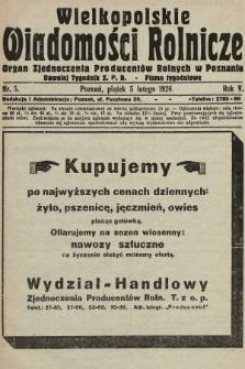 Wielkopolskie Wiadomości Rolnicze : organ Zjednoczenia Producentów Rolnych. 1926, nr5
