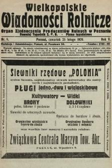 Wielkopolskie Wiadomości Rolnicze : organ Zjednoczenia Producentów Rolnych. 1926, nr8