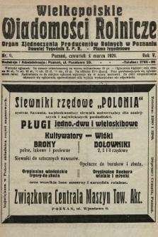 Wielkopolskie Wiadomości Rolnicze : organ Zjednoczenia Producentów Rolnych. 1926, nr9