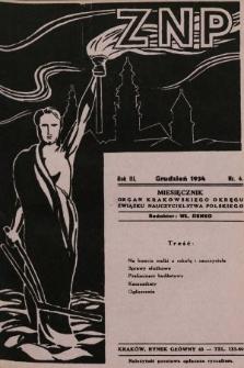 ZNP : organ Krakowskiego Okręgu Związku Nauczycielstwa Polskiego. 1934/1935, nr4