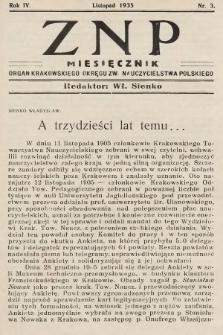 ZNP : organ Krakowskiego Okręgu Związku Nauczycielstwa Polskiego. 1935/1936, nr3