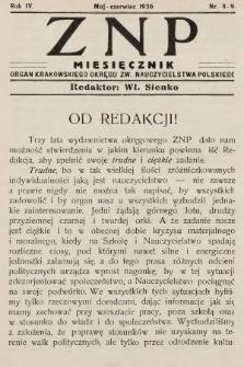 ZNP : organ Krakowskiego Okręgu Związku Nauczycielstwa Polskiego. 1935/1936, nr8-9