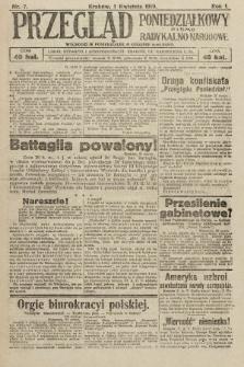 Przegląd Poniedziałkowy : pismo radykalno-narodowe. 1919, nr7
