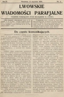 Lwowskie Wiadomości Parafialne : tygodnik poświęcony życiu religijnemu m. Lwowa. 1929, nr2