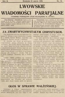 Lwowskie Wiadomości Parafialne : tygodnik poświęcony życiu religijnemu m. Lwowa. 1929, nr13