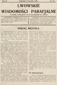 Lwowskie Wiadomości Parafialne : tygodnik poświęcony życiu religijnemu m. Lwowa. 1929, nr14