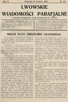 Lwowskie Wiadomości Parafialne : tygodnik poświęcony życiu religijnemu m. Lwowa. 1929, nr15