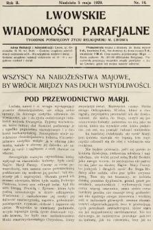 Lwowskie Wiadomości Parafialne : tygodnik poświęcony życiu religijnemu m. Lwowa. 1929, nr18